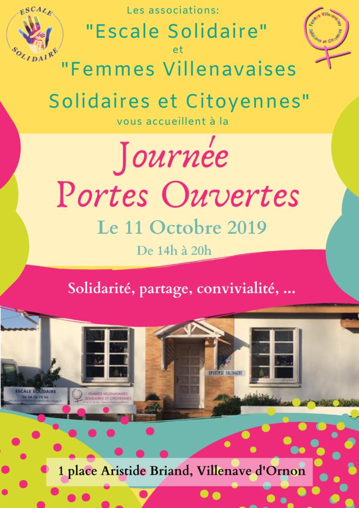 Le 11/10/2019 les associations Femmes Villenavaises Solidaires et Citoyennes. et  Escale Solidaire vous invitent à la Journée Portes Ouvertes.